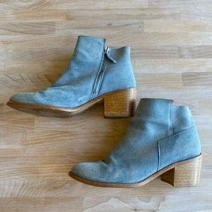 Zara Blue Suede Wood Block Heel Booties
